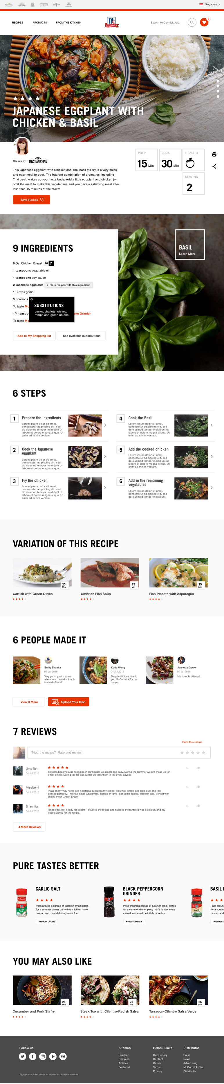 screen of recipe details in collaboration with local influencer